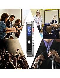 Grabadora de voz, grabadora de voz digital, 8 GB USB transcribe la aplicación de grabación de voz, reproductor MP3, reducción de ruido, dictáfono multiconectores para conferencias, reuniones