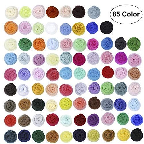 85 Colors Wool Roving,Needle Felting Wool Yarn Roving Wool Fibre Wool for Needle Felting Hand Spinning DIY Craft Materials ()