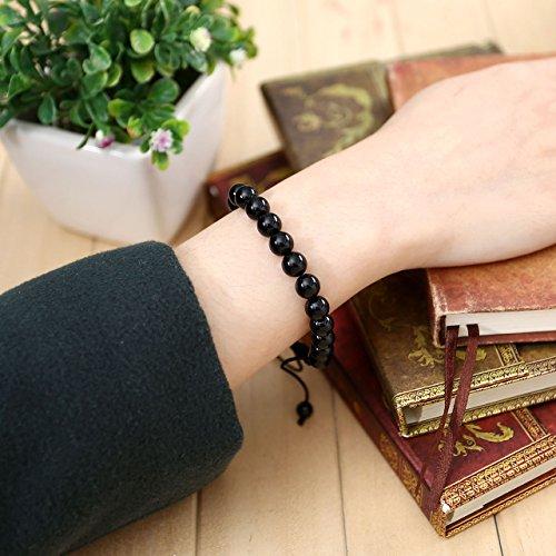 Jovivi 8mm Ethnique Tibétain Bracelet Réglable Pièrre Naturelle Agate Noir - Cordon Trissé et Noeud Chinois - Longueur Ajustable 16.5cm