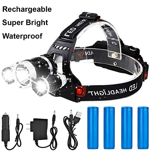 Tikka 3 Headlamp Led (Newest Version Brightest T6 LED Waterproof Headlamp 13000 Lumen Full 8 Pack Powerful Led Headlight + 2 (18650) Rechargeable Batteries + Wall Charger + USB Charger + Car Charger Perfect for Outdoor)