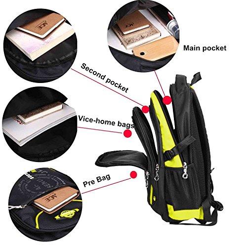 Sac violet Scolaire Pour Cartable Garcons L'école De Les Voyage Filles Backpack Camping Imperméable Durable Multifonctionnel Jaune xxw6Hq84