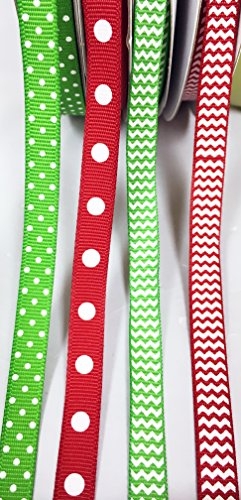 - Charmed Christmas grosgrain ribbon 3/8 inch red and apple green with polka dot pattern (150 yards)
