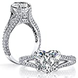 DIAMOND MANSION Dazzling Natural Heart Cut Split Shank Micro Pave Diamond Engagement Ring - GIA Certified