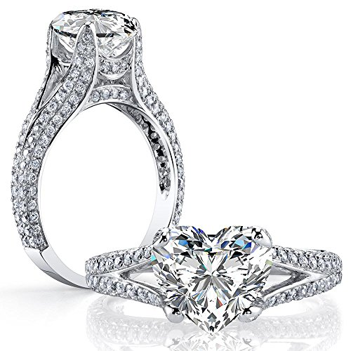 DIAMOND MANSION Dazzling Natural Heart Cut Split Shank Micro Pave Diamond Engagement Ring - GIA Certified (Platinum, 2.80)