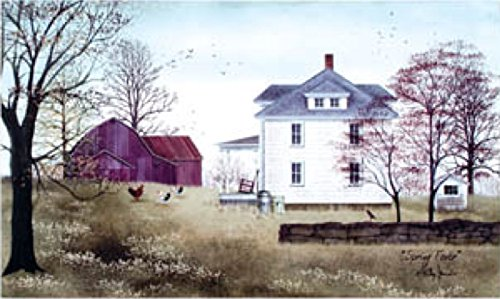 Canvas Prints, Wooden Framed Spring Fever Canvas Painting of a White Farm House in The Spring With Red Barn Ready to Hang for Home and Office Wall Decor 12 X 20 X 3/4 (Green Pot O Gold Glasses)