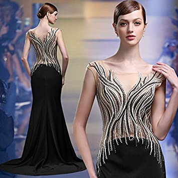 Nuevo vestido largo fiesta show host fina vestidos de fiesta, XL, negro
