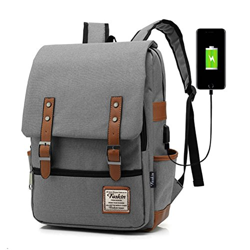 Professional Laptop Backpack with USB Charging Port, Feskin Fashion Travel Bag Vintage Business Work Computer Rucksack College School Casual Daypack for Women Men Girls - Gray