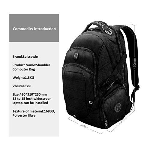 Suissewin big business travel outdoor mountain climbing computer backpack(SW9275I) (Black) by Swisswin (Image #1)
