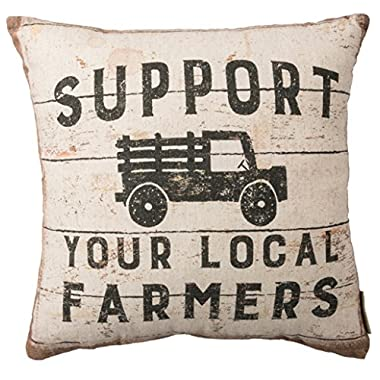 Primitives by Kathy Double-Sided Throw Pillow, 16 x 16-Inches, Support Your Local Farmers