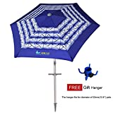 AMMSUN 7 Ft Beach Umbrella Sand Anchor With Vented Tilt and Aluminum Pole UPF 50+ 6 Panels Navy Blue White Stripe