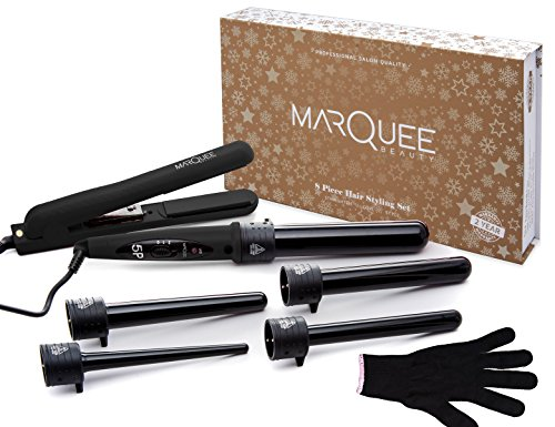 Deluxe Beauty Professional 8 Piece Interchangeable Flat and Curling Iron Set - Instant Hair Straightening Iron - Professionally Curl Your Hair - Instant Results! (BLACK) - Flat Iron Curling Iron Set