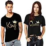 We2 Cotton Couple T-Shirts King and Queen (Pack of 2) (Men-XL, Women-S)