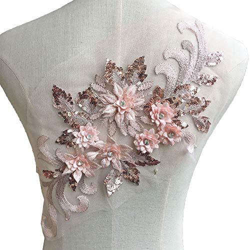 Exquisite 3D Flower Applique,Beaded,Sequined,Floral Patches Wedding Lace Appliques Motif Sew on Dress Gown 9 Colors Option (Pale Pink)