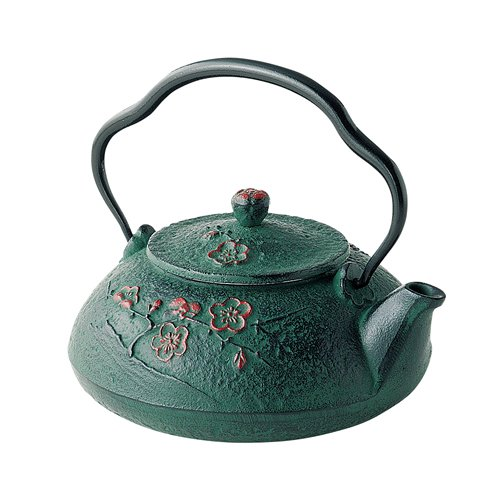 Tokyo Matcha Selection - Nanbu Tetsubin - Shinonome Green (Dawn design) 0.4 Liter : Japanese Cast Iron Tea Pot from Iwate Japan [Standard ship by EMS: with Tracking & Insurance] by Tokyo Matcha Selection
