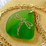 Handmade Dragonfly Sea Glass Necklace Natural Seaglass Jewelry Beach Wedding