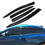 Lightronic CarWindowDeflectors Civic Rain Guards WV94462 for 2012-2015 Honda Civic Sedan 4Pc Set
