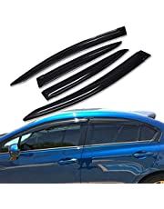 Lightronic WV94462 Tape-on Side Window Visor Deflector Rain Guard, Dark Smoke Shatterproof, 4 PCS Set for 2012-2015 Honda Civic (Sedan)