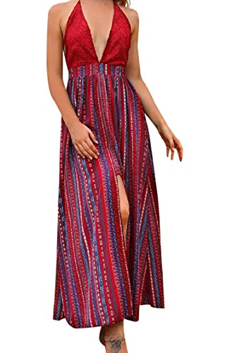 Spaccatura Striscia Lungo donne Abito Backless Coolred Pizzo Spiaggia Rosso Cuciture Sexy CIwqn7