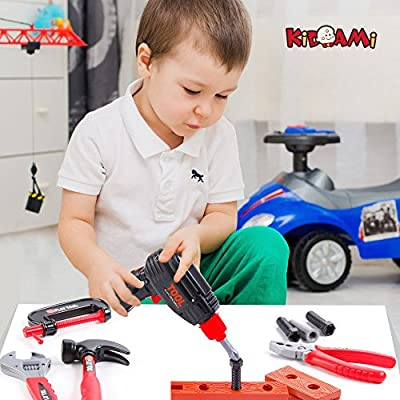 KIDAMI Deluxe 52 Piece Kids Toy Tool Set, Construction Tool Sets Pretend Play Toys with a Handy Storage Bag: Toys & Games