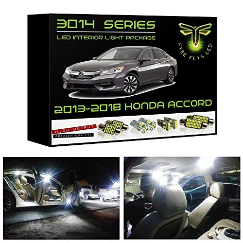 Fyre Flys 14 Piece White LED Interior Lights for 2013-2019 Honda Accord Super Bright 6000K 3014 Series SMD Package Kit and Install Tool ()