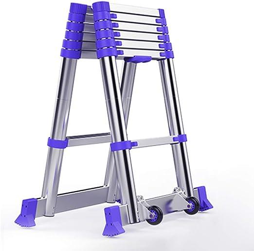 Escalera telescópica HWF Escalera Extensible Telescópica De Aluminio De Uso Múltiple Portátil, Escalera Extensible Telescópica Plegable para El Hogar Loft Office Engineering, Azul, Capacidad De Carga: Amazon.es: Hogar