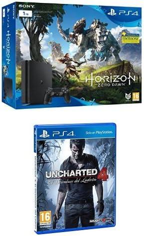 PlayStation 4 Slim (PS4) 1TB - Consola + Horizon Zero Dawn + Uncharted 4: El Desenlace Del Ladrón: Amazon.es: Videojuegos