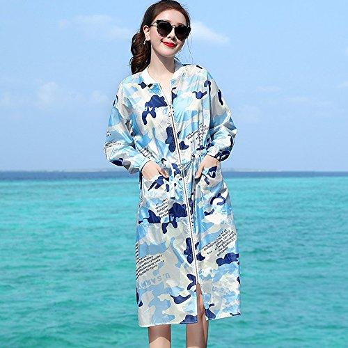 QFFL fangshaifu 女性ロングセクションカモ日光保護服/夏ルーズ軽量ビーチカーディガン/実用的な抗UV快適な通気性のエアコンショール (色 : A, サイズ さいず : M)