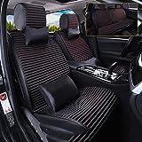 Universal Four Season Car Seat Cushion,Velvet Dual-use Car Seat Cushion, Bitter Buckwheat Seed Health Seat Cushion (Color : Black)