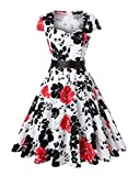 ROOSEY Women's 1950s Vintage Retro Cap Sleeve Swing Party Dress with Pockets
