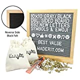 """Double Sided Black and Gray Felt Letter Board Kit 10x10, 692 White & Gold 3/4"""" Letters, Newest Emojis & Symbols, Oak Frame, Display Stand, 2 Cloth Bags, Clippers & Hanger by Xpressions"""