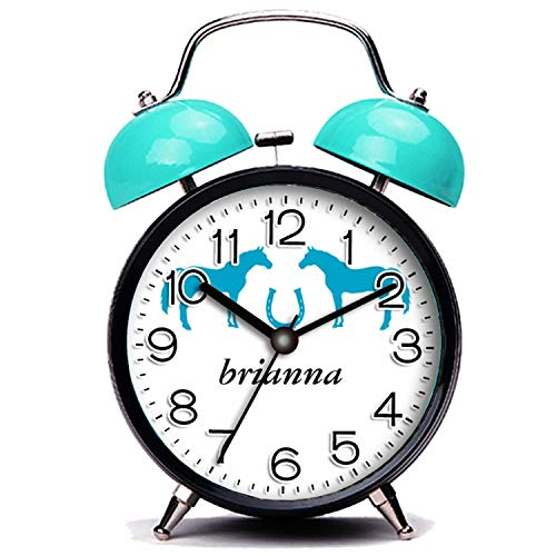 GIRLSIGHT3 Blue Alarm Clock,Horse Two Ponies and a Horseshoe Loud Alarm Clock Twin Bell Alarm Clocks with Nightlight