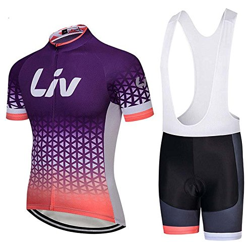 Women's Short Sleeve Cycling Jerseys and Bib Shorts Set Bicycle Jersey Summer Quick Drying Breathable Jersey V252 (E, -