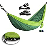 Winhi Outdoor Camping Hammock,Portable Double Parachute Hammocks,Travel Outdoor Hammock,Multifunctional Lightweight Nylon Parachute Hammock.Steel Carabiners,Tree Straps and Carrying Bag Included. (Light Green&Dark Green)