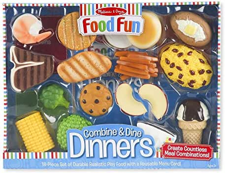 Melissa & Doug Food Fun Combine & Dine Dinners (Play Food Set, Great Gift for Girls and Boys - Best for 3, 4, 5 Year Olds and Up)