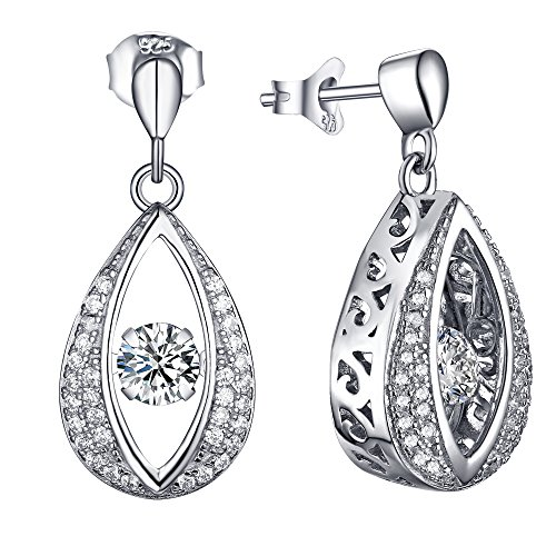 YL Dancing Diamond Marquise 925 Sterling Silver Dangle Ea...