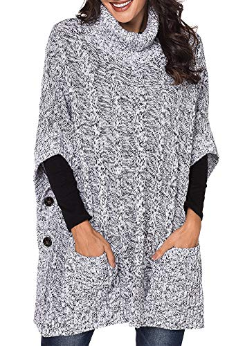 - Yingkis Women's Poncho Sweater Turtle Cowl Neck Batwing Sleeve Pullover Sweaters with Pockets,Grey