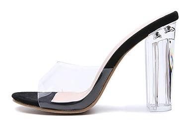 SHOWHOW Damen Elegant Durchsichtig Offen Zehen Mules mit Plexi-Absatz Schwarz 35 EU lX7W7