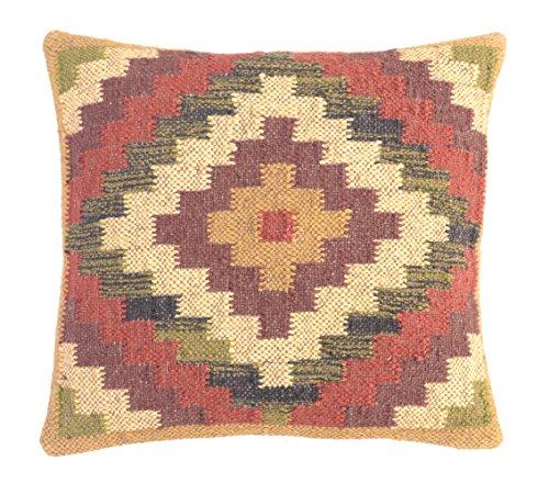 Handmade Kilim Cushion - HAND MADE Indian Handwoven Kilim Cushion Cover 18X18 Decorative Jute Square Pillow Cases Multi-2