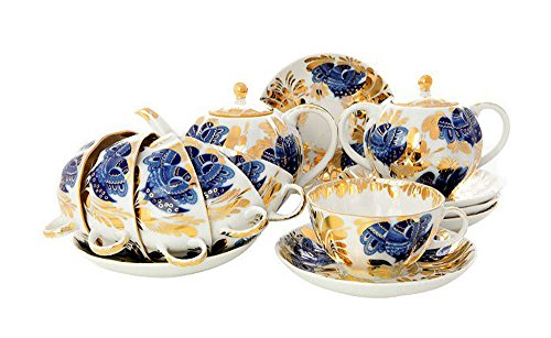 (Lomonosov Porcelain Tea Set Tulip Golden Garden 20 pcs 6/20: Tea Pot, Sugar Bowl, 6 Cups with Saucers and 6 Cake Plates)