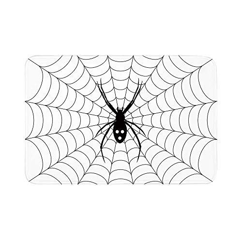 C COABALLA Spider Web Durable Door Mat,Poisonous Bug Venom Thread Circular Cobweb Arachnid Cartoon Halloween Icon Decorative for Living Room,15.7