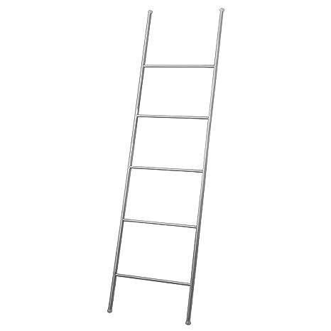 InterDesign Forma Toallero Escalera, Porta Toallas en Acero Inoxidable Cepillado con Cinco travesaños, Plateado