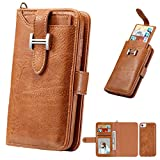 for iPhone 8 Wallet Leather Sleeve,MeiLiio Multifunction Zipper Wallet Credit Card Slots Money Pocket Clutch Cover Retro Vintage Stand Billfold Pouch Magnetic Case for iPhone 7/8 (Light Brown)