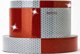"Starrey Reflective Tape 1""X5' Red White DOT-C2 High Intensity Grade - Conspicuity Safety Warning Tape for Cars Vehicles Multipal Size - 1 inch Waterproof Trailer Reflector Tape Roll"