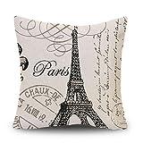 Decor MI Black and Beige Love Paris Pattern Cotton Square Throw Pillow Case Decorative Durable Cushion Slipcover Home Decor Standard Size Pillowcase Slip Cover 18x18 Inch