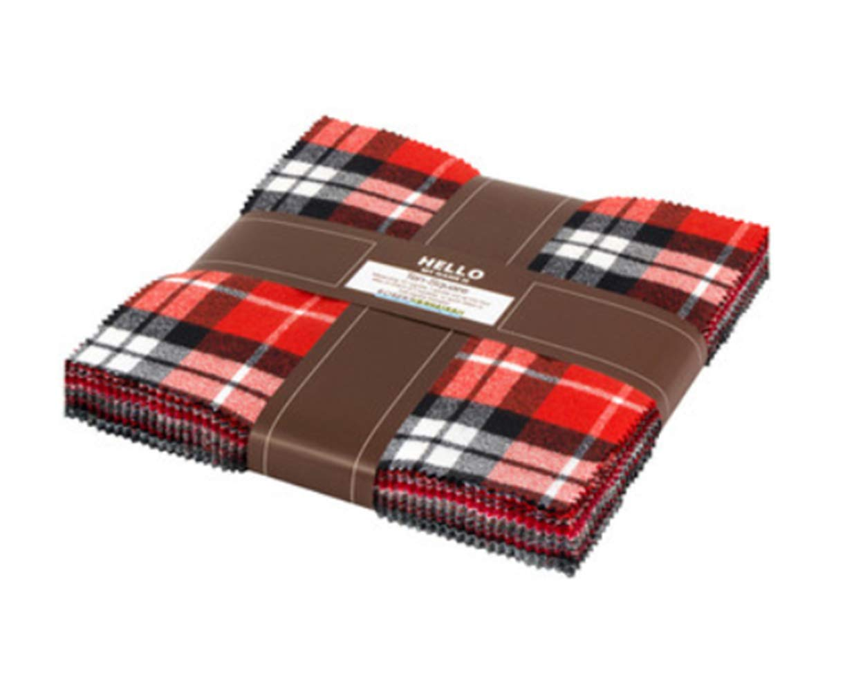 Kaufman 10'' Square Mammoth Flannel Red 42 pcs.
