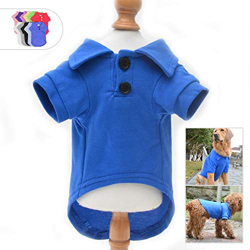 (Lovelonglong Basic Dog Polo Shirts Premium Cotton, Polo T-Shirts for Large Medium Small Dogs with a Two-Button Collar Blank Color Blue)