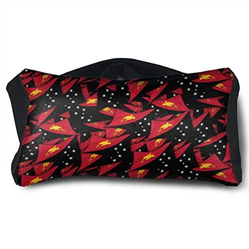 SUNNMOON Papua New Guinea Flag Wave Collage Neck Travel Pillow Support Scarf Voyage for Airplane Eye Mask, Travel Pillow and Eye Mask Washable Pillows