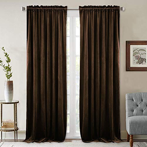 Suede Panel - Thermal Insulated Blackout Velvet Curtains - Heavyweight Plush Velvet Drapes Sound Reducing Window Draperies for Guest Room/Office, Chestnut, 52