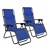 Z ZTDM 2 Pack Blue Adjustable Folding Zero Gravity Recliner Chairs Lounge Deck Chair with Pillow & Cup Holder for Patio Outdoor Yard Beach