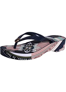 7f0998d18 Tory Burch Printed Cut-Out Wedge Flip Flop in Tory Navy Navy Constellation